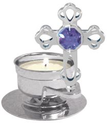 Mini Cross T-Lite Holder w/Swarovski Element Crystal