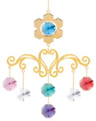 Gold Plated Snowflake Chandelier Ornament w/Mixed Swarovski Element Crystal