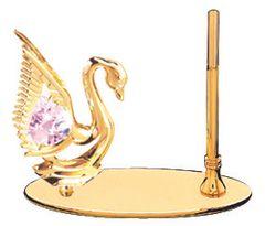 Gold Plated Swan Petite Pen Set w/Pink Swarovski Element Crystal
