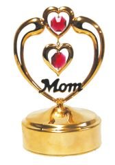 Gold Plated Mom in Heart Music Box w/Purple Swarovski Element Crystal