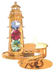 Gold Plated Light House T-Lite Holder w/Mixed Swarovski Element Crystal