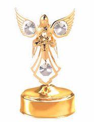 Gold Plated Angel w/Flower Music Box w/Clear Swarovski Element Crystal
