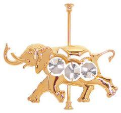 Gold Plated Carousel Elephant Sun Catcher (Magnet) w/Swarovski Element Crystal