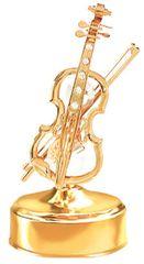 Gold Plated Violin Music Box w/Clear Swarovski Element Crystal