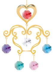 Gold Plated Heart Chandelier Ornament w/Mixed Swarovski Element Crystal