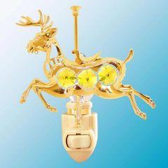 Gold Plated Carousel Deer Night Light w/Swarovski Element Crystal