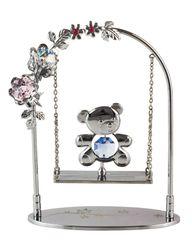 Chrome Plated Bear on Swing Free Standing w/Swarovski Element Crystal