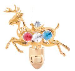 Gold Plated Deer Night Light w/Swarovski Element Crystal