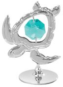 Sea Turtle on Stand w/Green Swarovski Element Crystal
