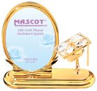 Gold Plated Graduation Cap Oval Picture Frame w/Clear Swarovski Element Crystal