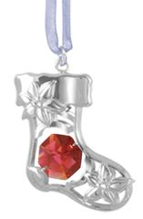 Stocking Ornament w/Swarovski Element Crystal