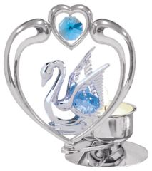 Swan in Heart T-Lite w/ Swarovski Element Crystal