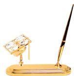 Gold Plated Graduation Pen Set w/Clear Swarovski Element Crystal