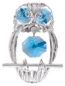 Chrome Plated Spotted Owl Ornament w/Blue Swarovski Element Crystal