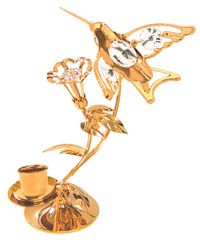 Gold Plated Hummingbird Deluxe Tapered Candle Holder w/Swarovski Element Crystal