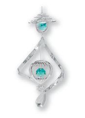 Chrome Plated Hot Air Balloon Spiral Ornament w/Green Swarovski Element Crystal