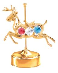 Gold Plated Carousel Deer Music Box w/Mixed Swarovski Element Crystal