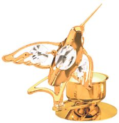 Gold Plated Hummingbird T-Lite Holder w/Swarovski Element Crystal