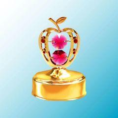 Gold Plated Apple Music Box w/ Swarovski Element Crystal