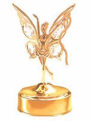 Gold Plated Fairy w/Ribbon Music Box w/Clear Swarovski Element Crystal