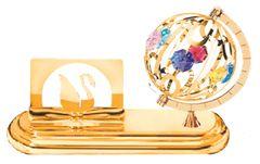 Gold Plated Spinning Globe Card Holder w/Swarovski Element Crystal