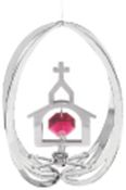 Chrome Plated Church in Ellipse Ornament w/Red Swarovski Element Crystal