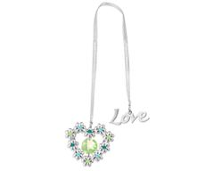 Chrome Plated Blooming Heart Bookmark w/Swarovski Element Crystal