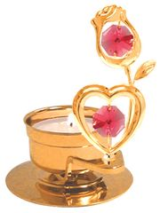 Heart with Rose T-Lite Holder w/Red Swarovski Element Crystal