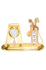 Gold Plated Golf Bag Desk Clock w/Swarovski Element Crystal