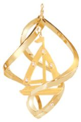 Gold Plated Sailboat Spiral Ornament w/Swarovski Element Crystals
