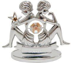 Chrome Plated Zodiac (Gemini) on Stand with Swarovski Element Crystal