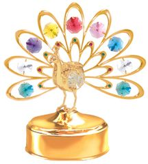 Gold Plated Deluxe Peacock Music Box w/Mixed Swarovski Element Crystal