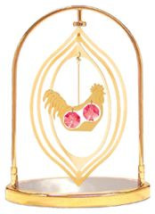 Gold Plated Rooster Lemon Tabletop Spinner w/ Red Swarovski Element Crystal