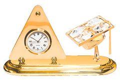 Gold Plated Graduation Cap Desk Clock w/Clear Swarovski Element Crystal