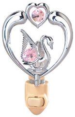 Chrome Plated Swan in Heart Night Light w/Pink Swarovski Element Crystal