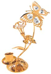 Gold Plated Butterfly Deluxe Tapered Candle Holder w/Swarovski Element Crystal