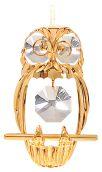 Gold Plated Owl Ornament w/Clear Swarovski Element Crystal