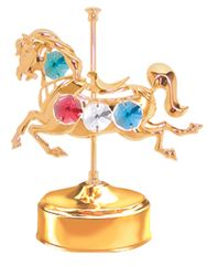 Gold Plated Carousel Horse Music Box w/Mixed Swarovski Element Crystal
