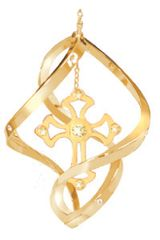 Gold Plated Cross Spiral Ornament w/Swarovski Element Crystals