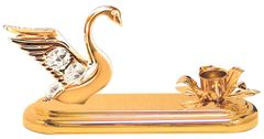 Gold Plated Swan Deluxe Tapered Candle Holder w/Swarovski Element Crystal