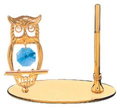 Gold Plated Owl Petite Pen Set w/Blue Swarovski Element Crystal