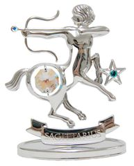 Chrome Plated Zodiac (Sagittarius) on Stand with Swarovski Element Crystal