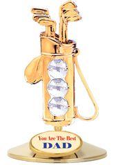 Gold Plated Golf Bag on Stand w/Swarovski Element Crystal