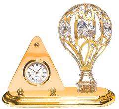 Gold Plated Hot Air Ballon Desk Clock w/Swarovski Element Crystal