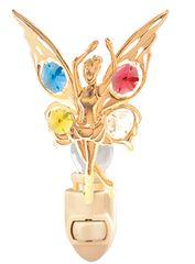 Gold Plated Dancing Fairy Night Light w/Swarovski Element Crystal