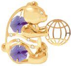 Gold Plated Bear w/ Ball Ornament w/Purple Swarovski Element Crystal