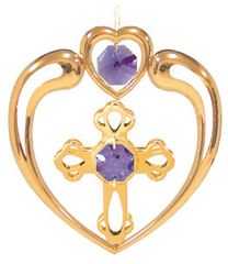 Gold Plated Cross in Heart Ornament w/Swarovski Element Crystal