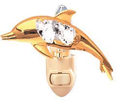 Gold Plated Dolphin Night Light w/Swarovski Element Crystal
