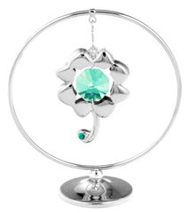 Chrome Plated Four Leaf Clover Mobile Freestand w/Green Swarovski Element Crystal