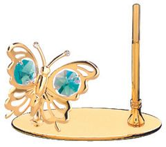 Gold Plated Butterfly Petite Pen Set w/Green Swarovski Element Crystal